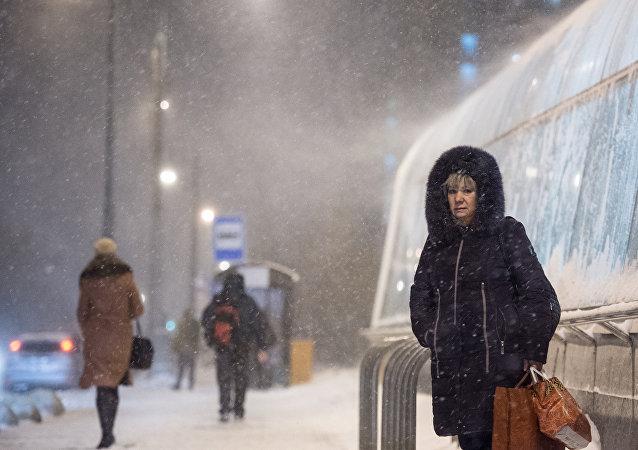 عاصفة ثلجية في موسكو