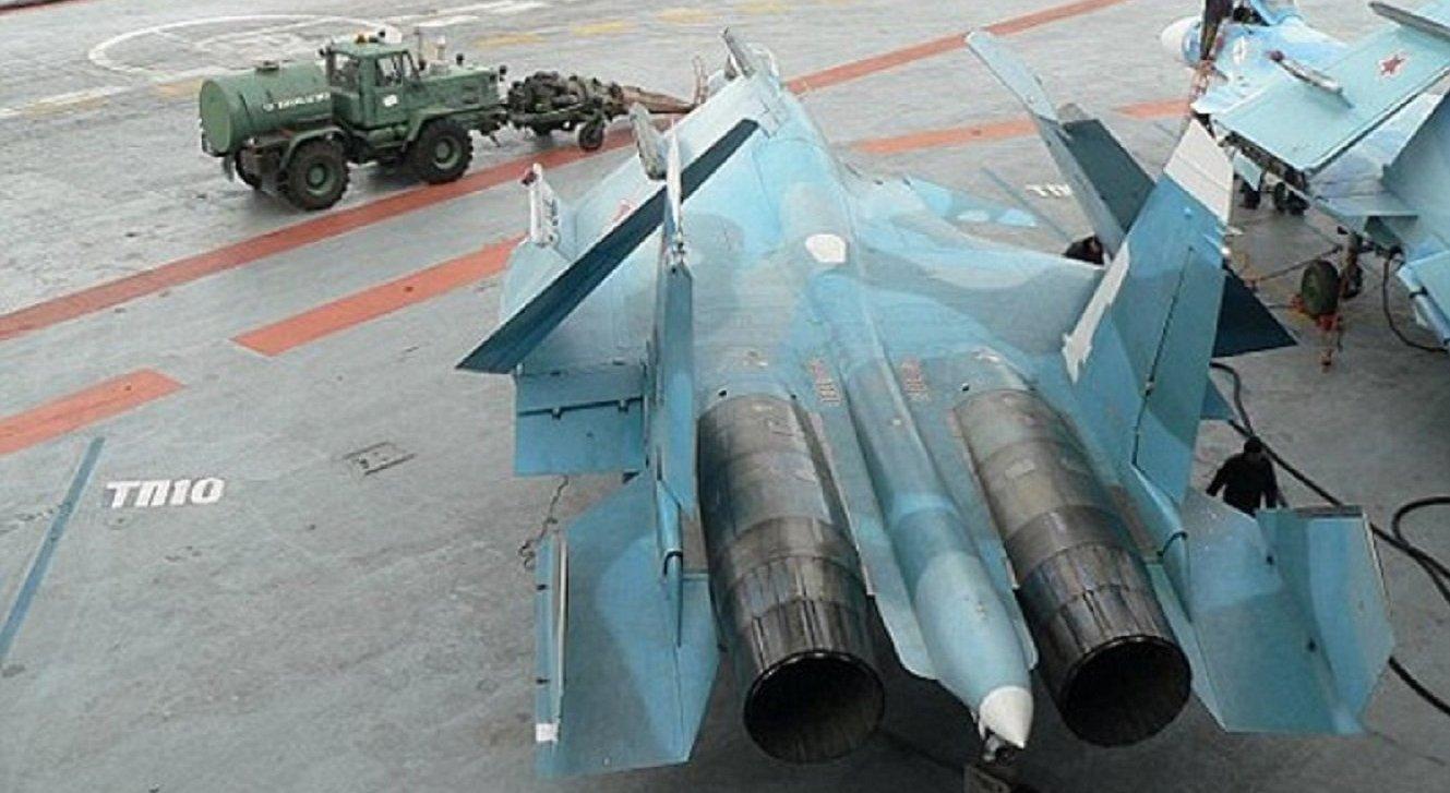 جرار على متن حاملة الطائرات الروسية