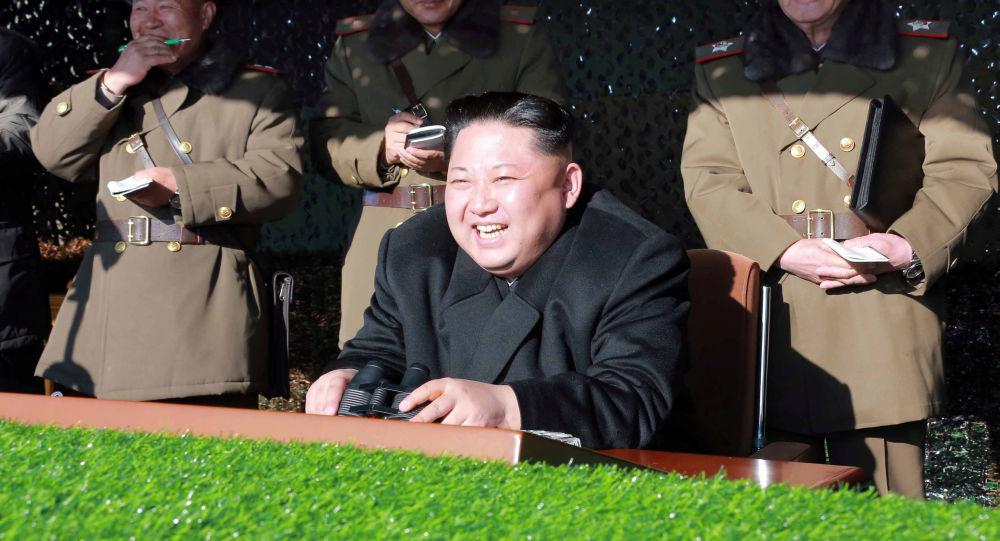زعيم كوريا الشمالية كيم يونغ آن خلال مشاهدته لعرض التدريبات العسكرية في بيونغ يانغ، 11 ديسمبر/ كانون الأول 2016