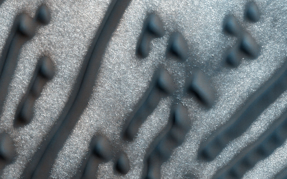 خطوط وبقع جديدة من الكثبان على الكوكب الأحمر المريخ
