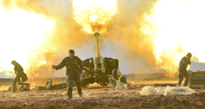 قوات الحشد الشعبي تطلق قذائف ضد تنظيم داعش في الموصل، العراق، 28 ديسمبر/ كانون الأول 2016