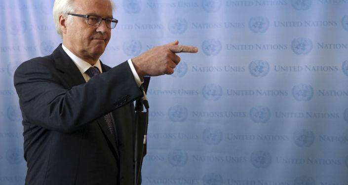 ممثل روسيا الدائم لدى الأمم المتحدة فيتالي تشوركين يتحدث إلى الصحفيين بعد اجتماع غير رسمي لمجلس الأمن حول مناقشة الوضع في سوريا، نيويورك، 26 يوليو/ تموز 2013