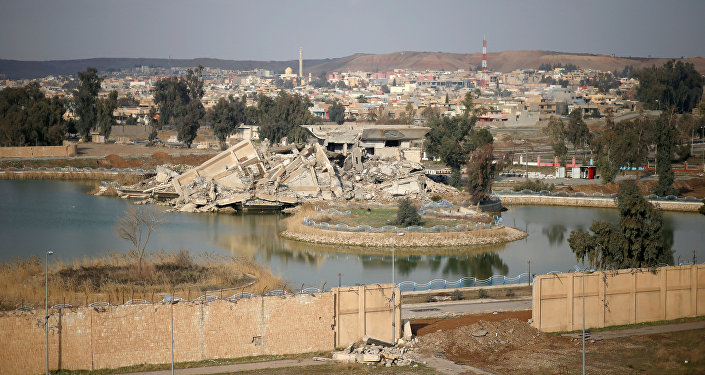قصر صدام بعد تدميره في معركة مع داعش بالموصل