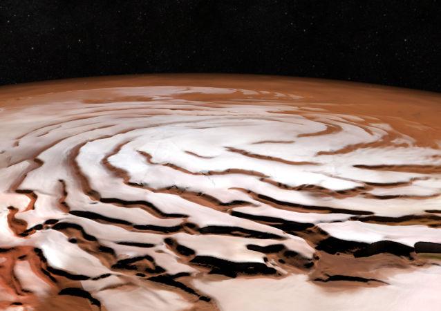 يمكننا رؤية القطب الشمالي المجمد لكوكب المريخ، صورة التقطت بواسطة ESA's Mars Express