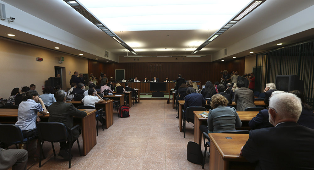 A view of the courtroom at the opening of a corruption trial against Finmeccanica, at the Busto Arsizio court, northern Italy, Wednesday, June 19, 2013. (File)