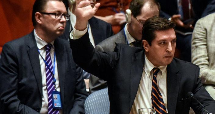 نائب مندوب روسيا الدائم لدى الأمم المتحدة، فلاديمير سافرونكوف خلال التصويت في بالفيتو على مشروع قرار الأمم المتحدة بشأن الهجوم الكيميائي في سوريا، نيويورك 12 أبريل/ نيسان 2017