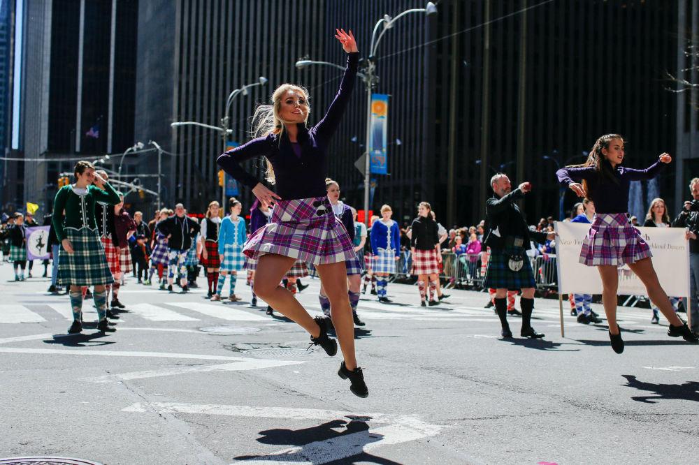 المهجران السنوي تارتان داي (مناسبة اسكتلندية: ذكرى توقيع مذكرة استقلال اسكتلندا عام 1320) في نيويورك، الولايات المتحدة 8 أبريل/ نيسان 2017