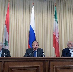 مؤتمر صحفي لوزراء خارجية روسيا وسوريا وإيران في موسكو