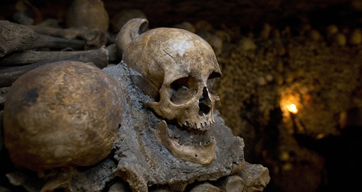 In this photo taken Tuesday, Oct. 14, 2014, skulls and bones are stacked at the Catacombs in Paris, France