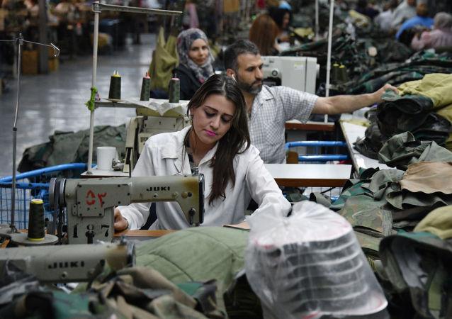 مصنع نسيج في دمشق، سوريا