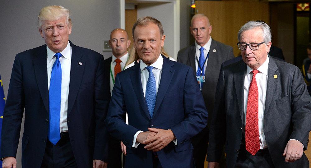 دونالد ترامب ودونالد توسك و جان كلود يونكر