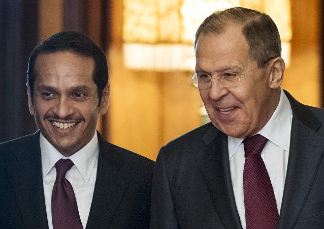 وزير الخارجية القطري محمد بن عبد الرحمن آل ثاني يلتقي وزير الخارجية الروسية سيرغي لافروف