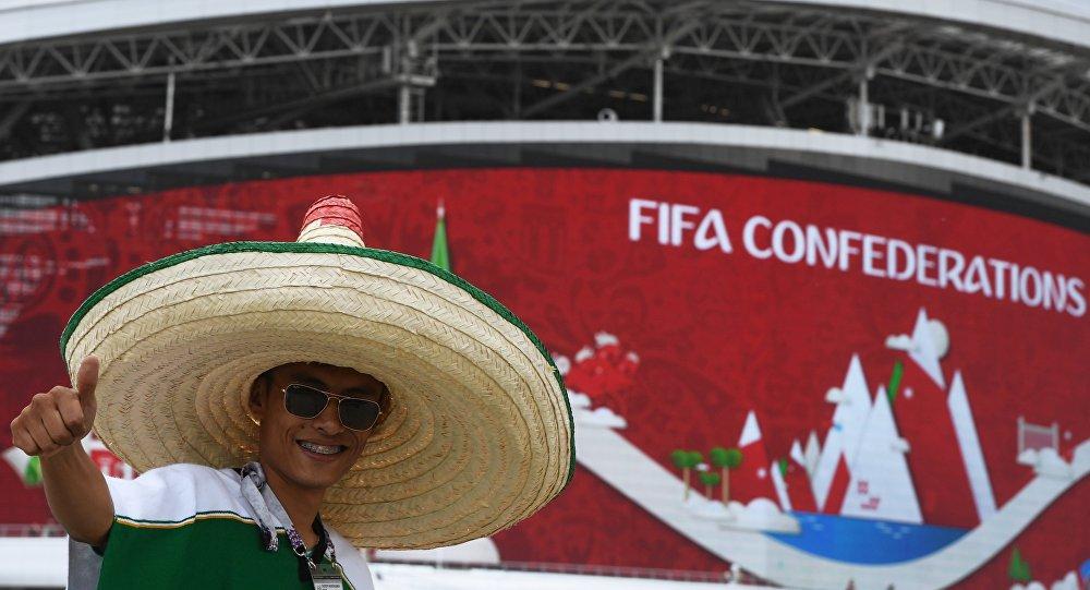 مشجع مكسيكي في مدينة قازان الروسية