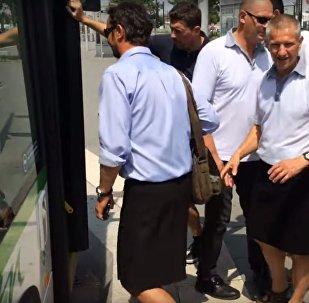 سائقوا الحافلات في نانت الفرنسية يرتدون التنانير