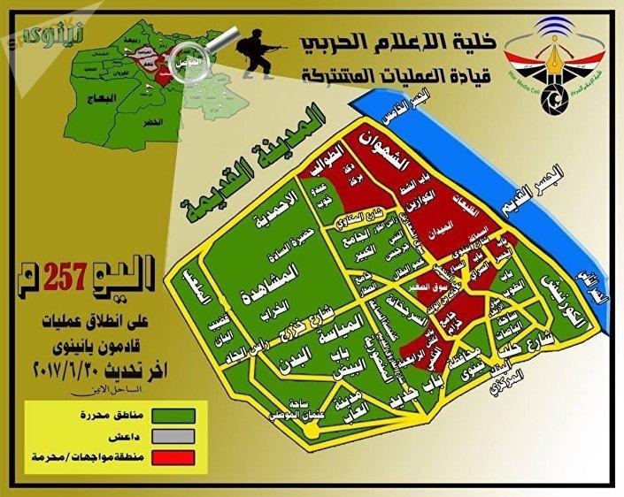 خارطة تقدم القوات العراقية في الموصل
