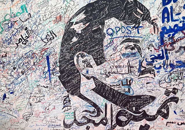 رسم غرافيتي لأمير قطر الشيخ تميم بن حمد آل ثاني  الدوحة، قطر 3 يوليو/ تموز 2017