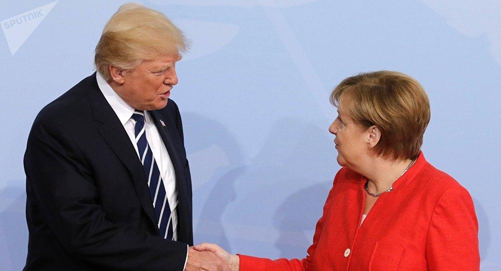 قمة مجموعة العشرين في هامبورغ، ألمانيا - المستشارة الألمانية أنجيلا ميركل تلتقي بالرئيس الأمريكي دونالد ترامب، 7 يوليو/ تموز 2017