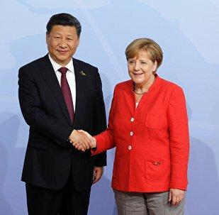 قمة مجموعة العشرين في هامبورغ، ألمانيا - المستشارة الألمانية أنجيلا ميركل تلتقي بالرئيس الصيني شي جين بينغ، 7 يوليو/ تموز 2017