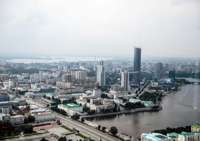 مشهد لمدينة يكاتيرينبورغ من نافذة البرج التجاري فيسوتسكي، روسيا
