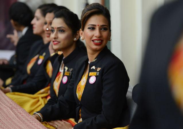 مضيفات الطيران الهندي آير إنديا (Air India) في نيودلهي، الهند