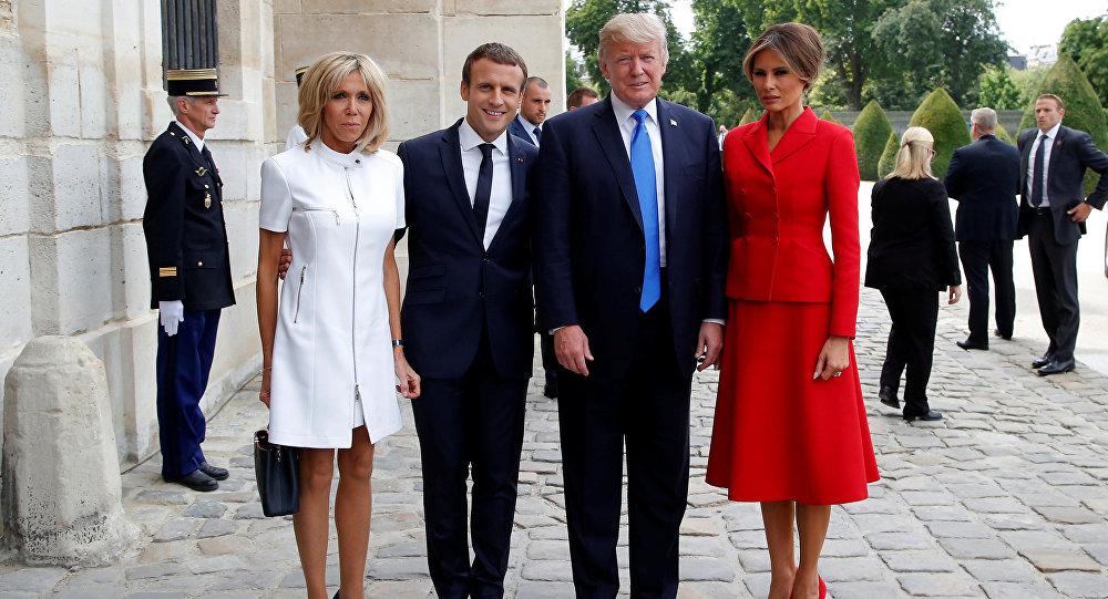 ماكرون وبريجيت في استقبال ترامب وميلانيا