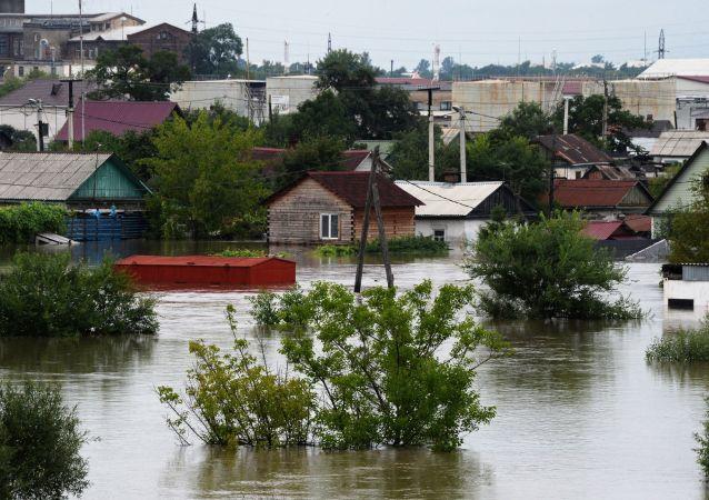فيضانات في أوسورييسك، روسيا