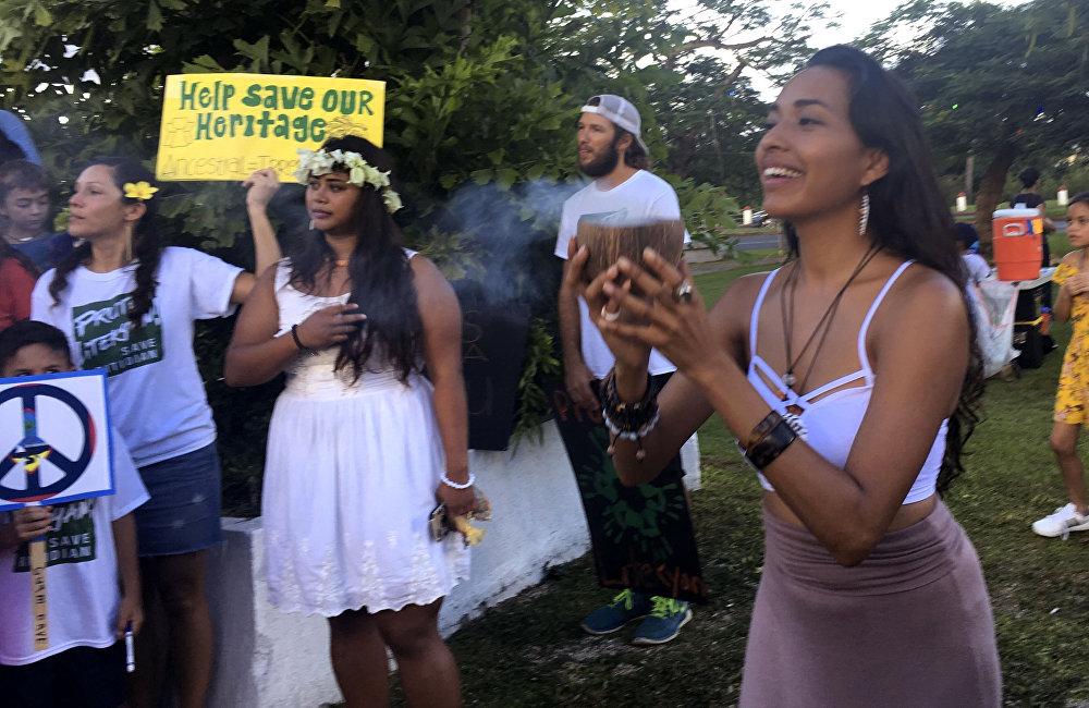 مظاهرة في هاغاتان على جزيرة غوام