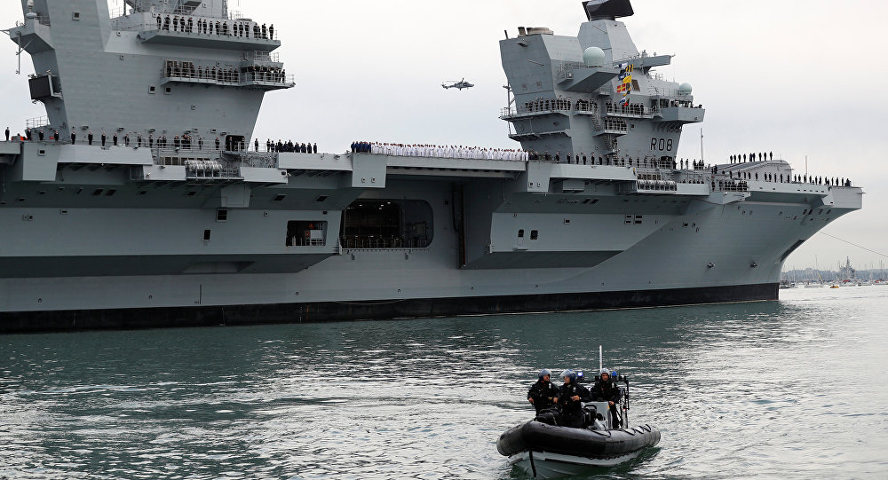 The Royal Navy's new aircraft carrier HMS Queen Elizabeth arrives in Portsmouth, Britain August 16, 2017
