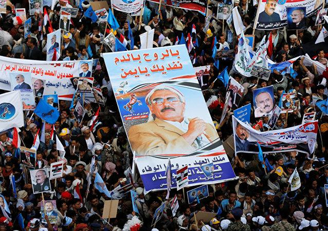 المسيرة الحاشدة في ساحة السبعين في العاصمة اليمنية صنعاء
