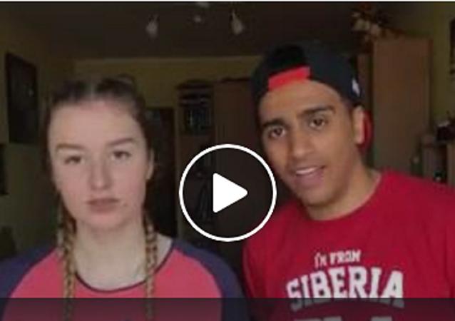 فيديو لشاب مصري وزوجته الروسية الشابة وهي تحاول أن تتعلم اللغة العربية