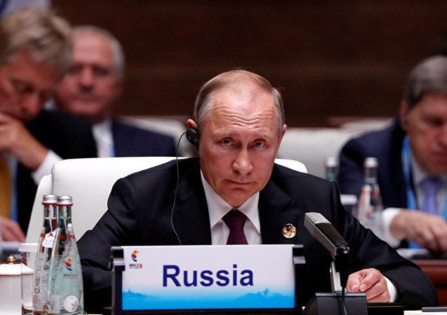الرئيس الروسي فلاديمير بوتين في قمة بريكس