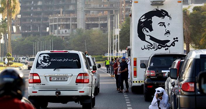 غرافيتي لأمير قطر الشيخ تميم على السيارات