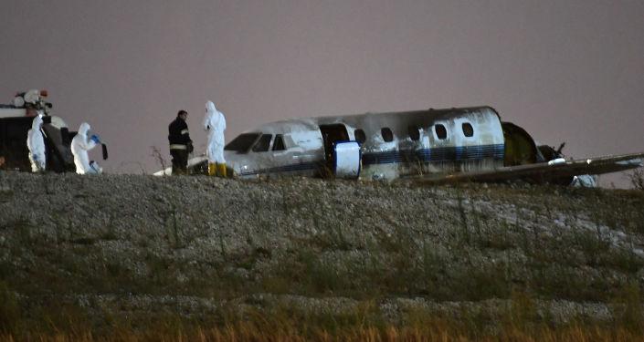 تحطم طائرة في مطار أتاتورك في اسطنبول، تركيا، 21 سبتمبر/ أيلول 2017