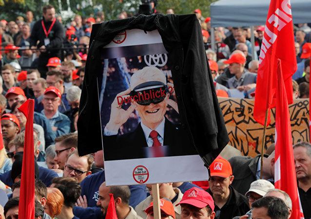 مظاهرة عمال الصلب في ألمانيا