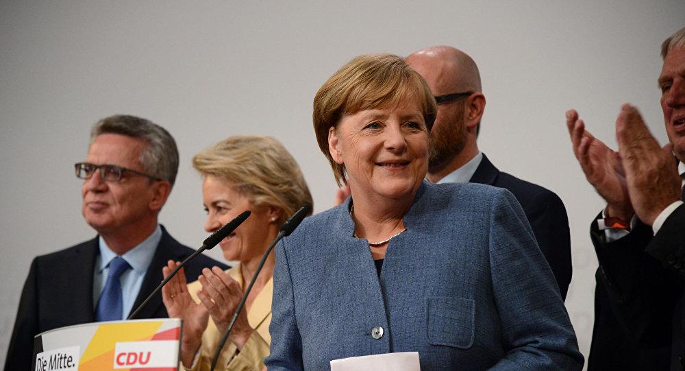 المشتسارة الألمانية أنجيلا ميركل خلال الانتخابات
