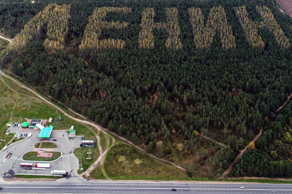 طائرة بدون طيار تلتقط صورة لاسم لينين على أشجار في غابة بالقرب من مقاطعة إيفانوفو، بيلاروسيا 10 أكتوبر/ تشرين الأول 2017. وذلك بمناسبة الذكرى الـ 100 لمولد مؤسس الاتحاد السوفيتي فلاديمير لينين
