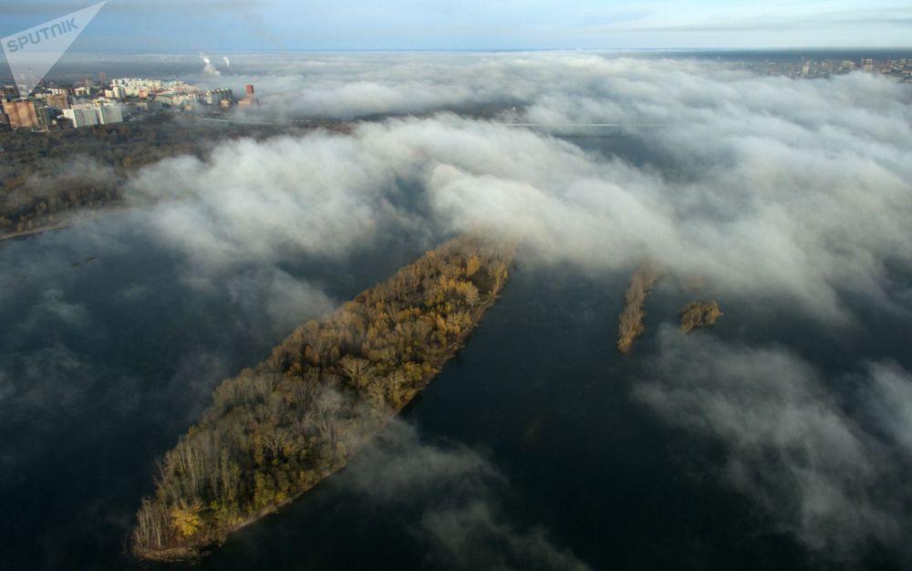 ضباب فوق نهر أوب، نوفوسيبيرسك