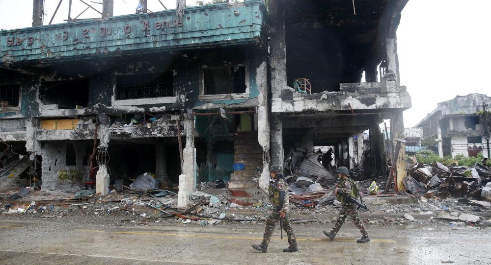آثار الدمار في مدينة مراوي، بعد معارك شرسة ضد إرهابيي تنظيم داعش، الفلبين 25 أكتوبر/ تشرين الأول 2017