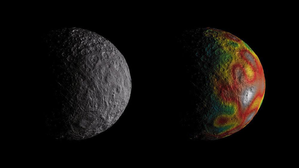 آثار لمحيط تحت الأرض وجدت على سطح كوكيب صغير سيريس (أو قيرس) بواسطة مركبة فضائية داون