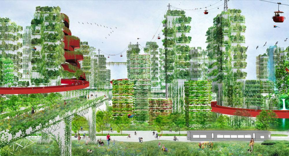 مشروع آخر لمدن المستقبل -  مدينة تقدم فرصة للعيش في غابة، والتي يجب أولا أن يتم بناءها.