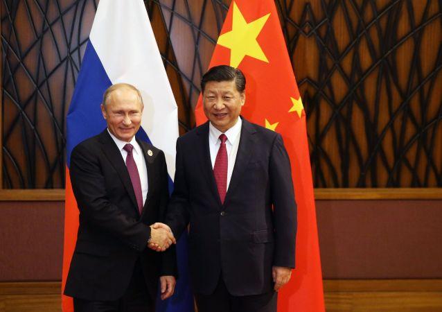 الرئيس الروسي فلاديمير بوتين والرئيس الصيني شي جينبينغ في قمة إبيك، فييتنام