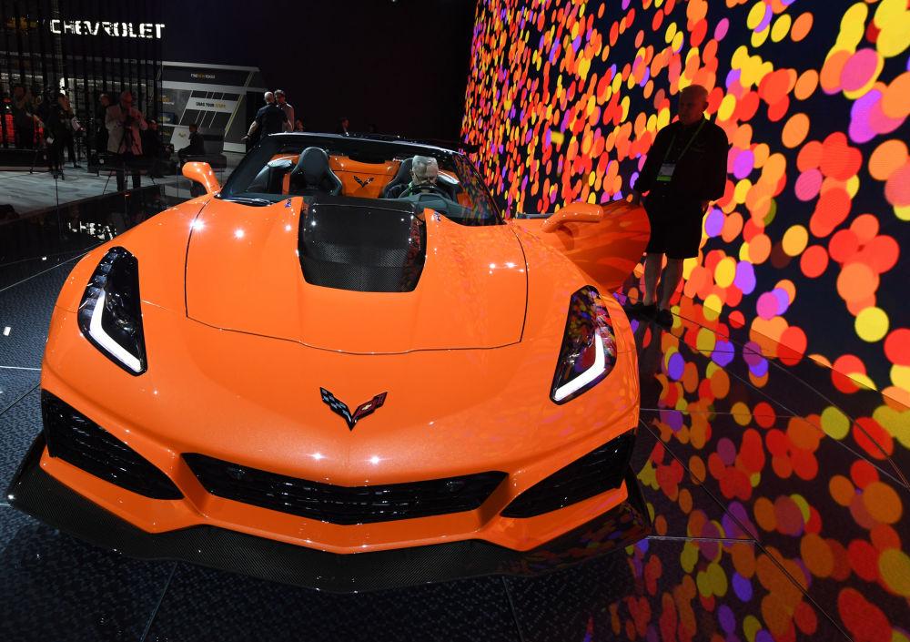 عرض السيارات لا أوتو شو 2017 في لوس أنجلوس - السيارة الجديدة Chevrolet Corvette ZR1، كاليفورنيا 29 نوفمبر/ تشرين الثاني 2017