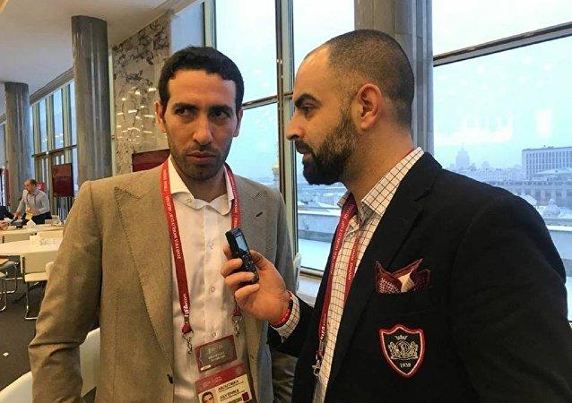 محمد أبو تريكة مع مراسل سبوتنيك