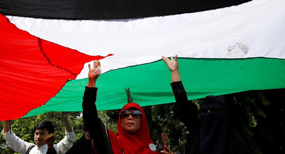 احتجاجات في جاكارتا حول قرار الرئيس الأمريكي دونالد ترامب بشأن القدس، إندونيسيا 8 ديسمبر/ كانون الأول 2017
