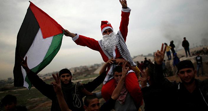 احتجاجات واشتباكات في رام الله، الضفة الغربية، فلسطين 19 ديسمبر/ كانون الأول 2017