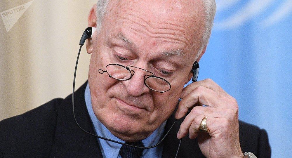 المبعوث الأممي للأزمة السورية لدى الأمم المتحدة ستيفان دي ميستورا في موسكو، روسيا 22 ديسمبر/ كانون الأول 2017