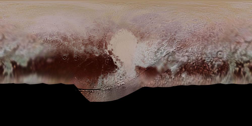 خريطة ملونة لكوكب بلوتو، التي أعدتها وكالة ناسا