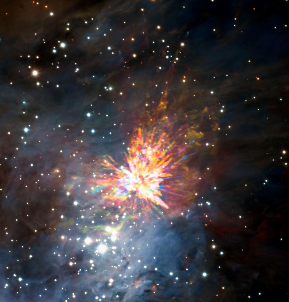 انفجار ناجم عن اصطدام نجمين حديثي الولادة في كوكبة أوريون
