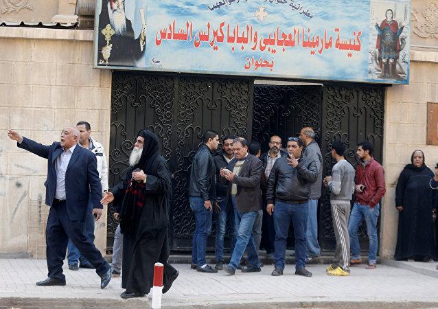 من أمام كنيسة مارمينا العجايبي في حلوان في مصر