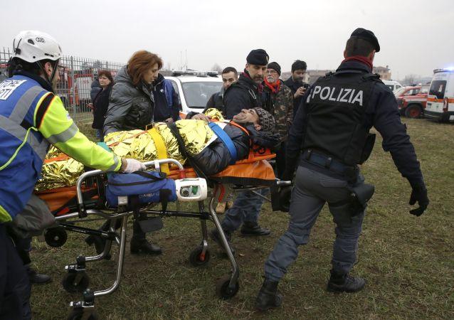 حادثة تحطم قطار في محطة بيولتيللو ليميتو في ضواحي ميلانو، إيطاليا 25 يناير/ كانون الثاني 2018